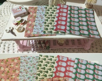 GIFT WRAPPING PAPER - Vintage Prints - Dollhouse Miniature 1:12 Scale