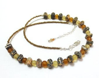Leopard Jasper Necklace, Yellow & Amber Glass Bead Necklace - 925 Sterling Silver - Rustic Beaded Necklace - Unisex Jewelry - Men's Necklace