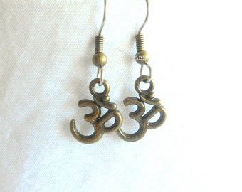 Om Earrings Spiritual Earrings Symbol Earrings Bronzed Earrings Surgical Steel Hooks Charm Earrings