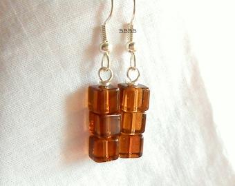 Brown Earrings Cube Earrings Root Beer Earrings Bright Silver Earrings Silver Plated Surgical Steel Hooks French Hooks