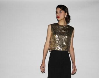 Vintage 1960s Gold Metallic Cropped Top  - Vintage 60s Blouses - Vintage Gold Tops - WT0212
