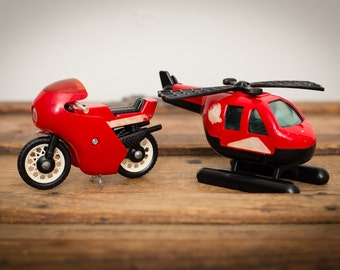 Buddy L Spiderman Motorcycle & Helicopter Toys, Marvel, Vintage 80s