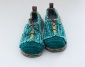 House Shoes Sneakers with Leather Sole in shades of turquoise green (no tongue)  - all adult shoe sizes US 4-12 EUR 35-46