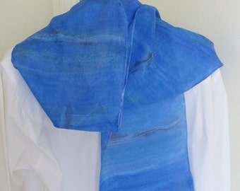 Hand painted rowing silk scarf design deep blue shaded design