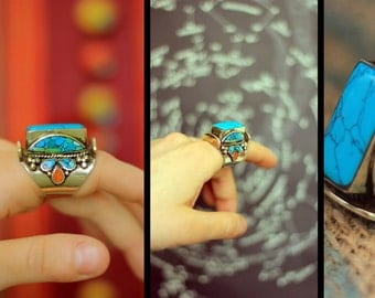 SALE Gorgerous Tibetan Turquoise and Coral Silver Ring