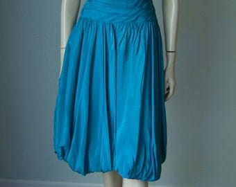 1950s Fred Perlberg Turquoise Taffeta and Lace Party Dress // Pleating Detail and Balloon Skirt