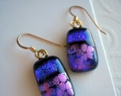 Dichroic Earrings Deep Blue with Violet Pink Flowers 14K Gold Sparkle Fused Glass Dangle Drop Flowered Jewelry Kiln Fired Home Made Crafts