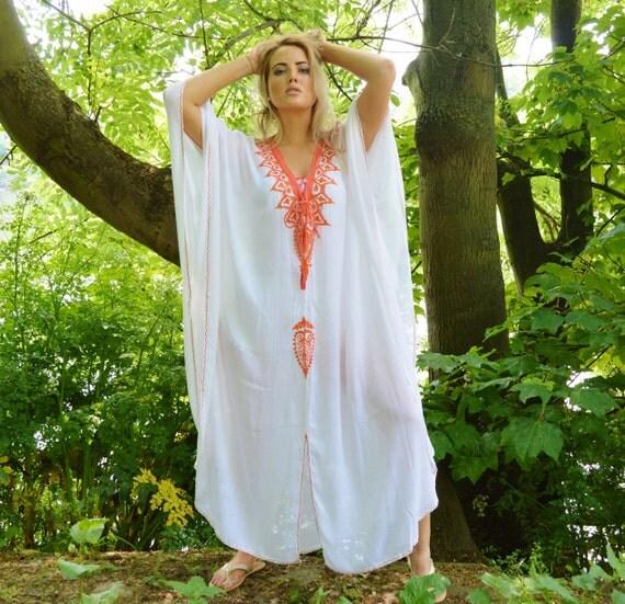 White Orange Agadir Embroidery Beach Wedding Gown Caftan Kaftan -cover ups, beach wedding, resortwear,maxi dress, honeymoon, maternity gift