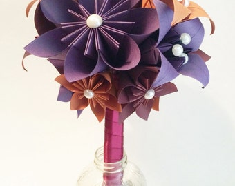 Bridesmaid Flowers & Lilies Bouquet- 7 inch, 15 flowers, one of a kind, custom wedding, origami, paper flower bouquet, fall colors, gem tone