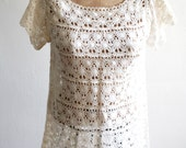 SALE Ivory Lace Crochet Dress
