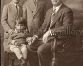 Vintage Photo, Father and Sons, Black & White Photo, Studio Portrait, Found Photo, Antique Photo, Old Photo, Classic Photo   Augustine0016