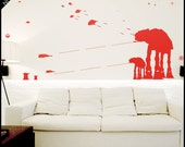 Star Wars WALL DECAL : At-At Walker silhouettes standing. With galaxy stars. Snowspeeders. Decor, vinyl, sticker