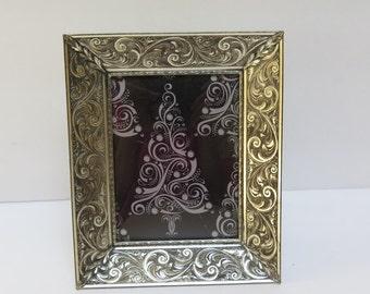 Ornate 3.25  x 4.5  Engraved design antiqued silver tone picture Frame Velvet Easel Back