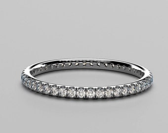 French Pave Wedding Eternity ring. Available in White Gold, Rose Gold and Platinum