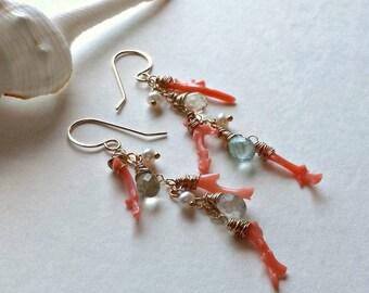 Aqua Coral Earrings, Aquamarine Cluster Earrings, Peach Coral Branch Earrings, Peach Aqua Cluster Earring, March Birthstone Earrings