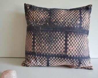 "Indigo Diamonds Denim Pillow, 14 x 14"" Pillow Cover, Decorative Throw Pillow, Dorm Room Decor, Pink and Blue Pillow, Hand Dyed Pillow"