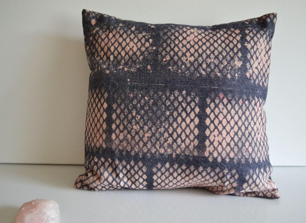 Indigo Diamonds Denim Pillow 14 x 14 Pillow Cover