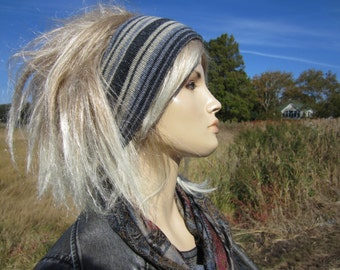 Knit Headband Head Warmers Wool Cotton blend Hairband Muff, Warm Gray Striped Ski Snow Tube Hat A1574