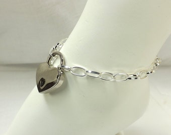 Locking Anklet Silver Heart Lock Ankle Bracelet mature pinchthemuse bdsm jewelry bdsm anklet