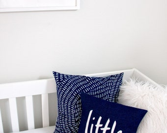 Little Man Pillow, Navy and White