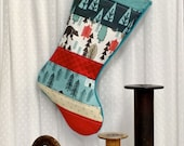 Quilted Christmas Stocking - Patchwork, Kids, Rustic, Bear, Fox, Squirrel, Winter, Woodland, Black, White, Red, Teal, Aqua, Tan, Trees