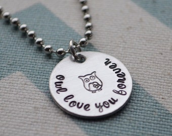 Sterling Silver Owl Love You Forever Hand Stamped Necklace - Mom, Daughter, Best Friends, Wife, Girlfriend, Birthday, Christmas, Tweens
