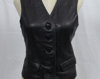 Vintage ladies leather vest late 70s early 80s