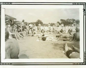 "Vintage Photo ""His Bathing Beauty"" Swimsuit Beach Girl Snapshot Antique Photo Black & White Photograph Found Paper Ephemera Vernacular - 118"