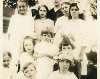 "Vintage Photo ""Small School Class"" Snapshot Old Antique Photo Black & White Photograph Found Paper Ephemera Vernacular - 199"