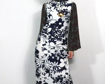 60s 70s Vintage Floral Print Dress Sheath