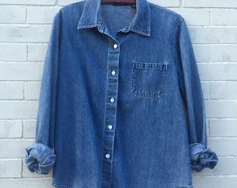 Vintage 90s Denim Chambray Oversized Bottom Up Shirt- M / L