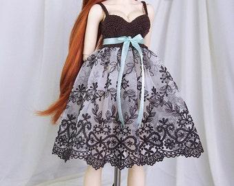 Dark cocoa, ecru & mint dress for MSD