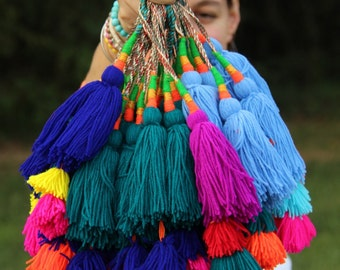 Fall 2016 Colors: Bright Colorful Camel Swag Pom Pom, Tassel, Decoration, Bohemian, Gypsy Fashion Design Supply, Choose your Color, 1 pc.