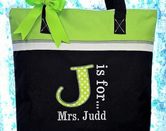 Personalized Teacher Tote Bag Utility Tote Teacher Gift