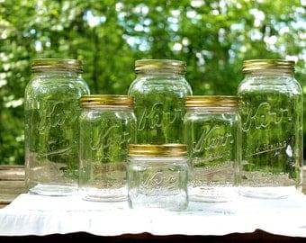 5 Vintage Kerr Self Sealing  Wide Mouth Mason Jars - 2 Half Gallon 2 Quart 1 Squatty Pint - Kitchen & Pantry Storage - Insurance w/Shipping