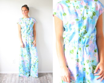 Vintage 1970's floral jumpsuit // S/M boho floral romper jumper dress // blue floral maxi dress // flower child // floral pantsuit / 1960's