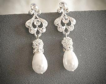 Bridal Earrings, Art Deco Wedding Earrings, Swarovski Pearl and Rhinestone Chandelier Dangle Earrings, Pearl Drop Stud Earrings, AILEY