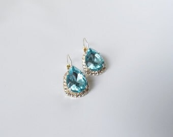 Aquamarine Crystal Earrings, Sky Blue Earring, Aqua Jewelry, 18th Century jewelry, Regency Earrings, Georgian Paste, Aqua Crystal Teardrop
