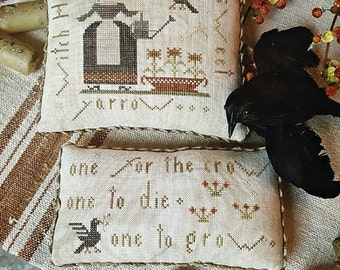 One for the Crow cross stitch patterns by With Thy Needle & Thread Halloween witch October hand raven crows