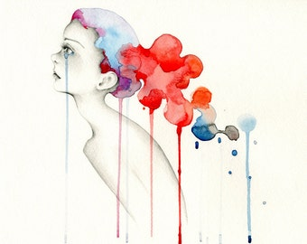 Sad Girl Art Print of My Original Artwork Watercolor Painting of a Crying Girl Abstract Painting Colorful Wall Art Red Blue Art Print Girl