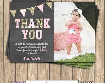 One First Birthday girl coral pink gold PRINTABLE Photo Thank You card chevron polka dot glitter 1st birthday - 1030