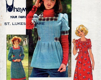 1970s Dress or Top Pattern Simplicity How To Sew 7648 Vintage Sewing Pattern Boho Tucked Dress with Square Neckline Bust 34
