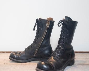 8.5 R   1950's Cap Toe Combat Boots Altered w/ Zipper Sides