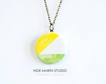 Minimalist necklace, Antique bronze chain necklace pendant jewelry, Colorful simple boho necklace, Round necklace, Ceramics & pottery, noe m