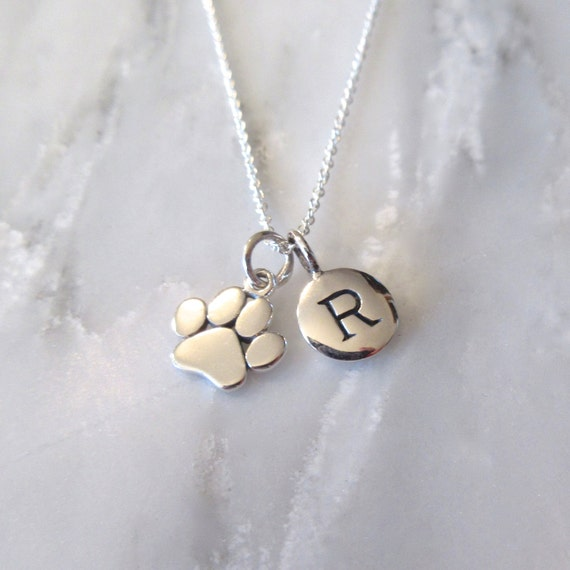 silver paw print necklace personalized by tangerinejewelryshop