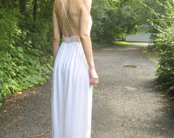 25% OFF SALE! in bloom - organic cotton bamboo paired with 70's floral lace bohemian chic hippie wedding maxi dress small