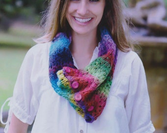 Knitting Yarn Kit: Make Your Own Button Up Cowl in Pure Wool Noro Kureyon - Gift It, Create It