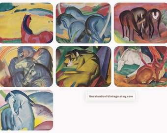 Franz Marc. Collection / Set of 7 Vintage German and English Postcards -- 1960s-1980s