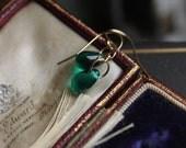 Small Green Earrings, Handmade Gold Earrings, Delicate Drop Earrings, Emerald Earrings, Everyday Earrings, Petite Earrings, May Birthstone.