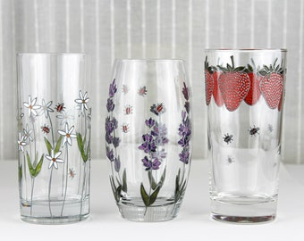 Ladybirds in the Garden, Floral/Strawberry Drinking Glasses, Set of 3, Hand Painted Glasses, Tumblers, Water Glasses, Iced Tea Glasses